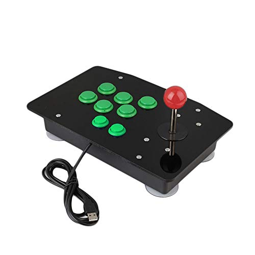 Haihuic Arcade-Game-Controller für PC USB Arcade Fight Stick Gamepad-Joystick und 8 Tasten für MAME, KOF, Street Fighter, andere Kampfspiele, Grün