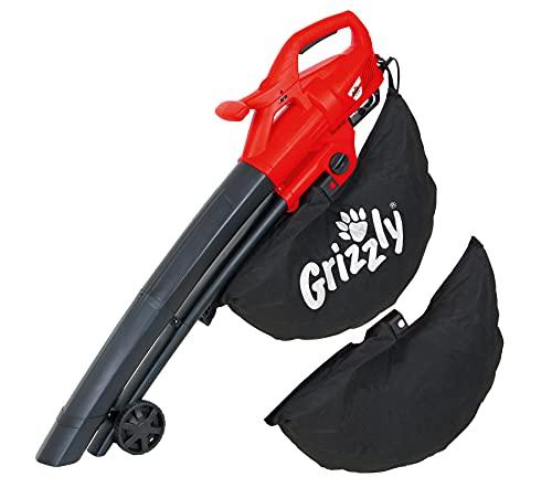 Grizzly Tools 3in1 Elektro 3in1 Laubsauger/Laubbläser/Häcksler (Variable Drehzahlregulierung, Blasgeschwindigkeit bis 270 km/h, 2800 Watt, große Räder, inkl. 2X 40ltr Fangsack und Tragegurt