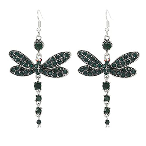 Pendientes De Color Retro Sensual Multicolor Pendientes Largos De Mujer Pendientes De Diamantes De Estilo Nacional Diamante verde