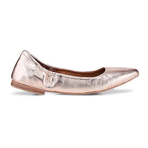 Cox Damen Stretch Ballerina für, goldene Flats aus Leder mit rutschhemmender Laufsohle Bronze Leder 39