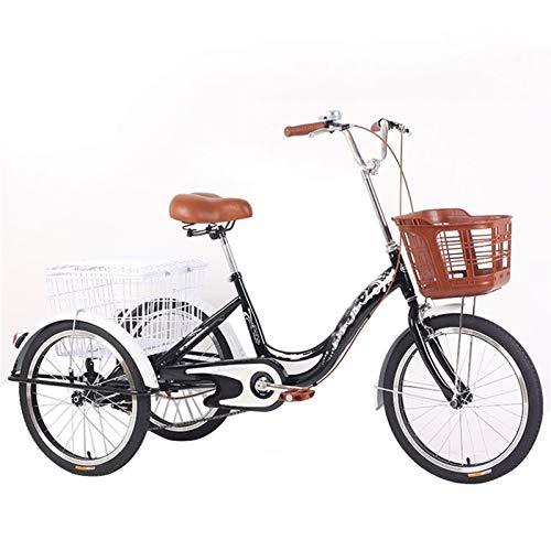 zyy Dreirad für Erwachsene 3 Räder Fahrrad Dreirad 20-Zoll-Dreirad Senioren Shopping Fahrräder Cruise mit Korb Warenkorb Lastenfahrrad Outdoor Sports Stadt Vorstadt (Color : Black)