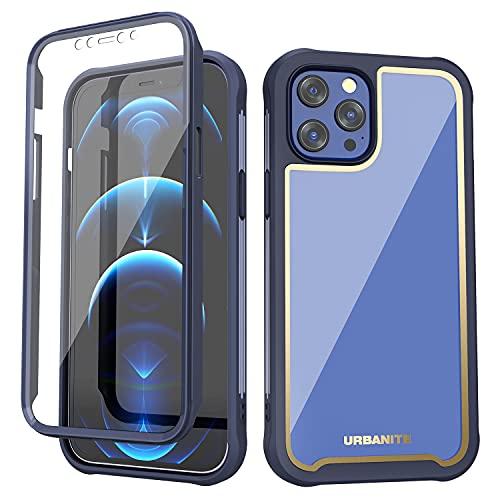 URBANITE Funda para iPhone 12 Pro Max, de grado militar, a prueba de golpes, protección de cuerpo completo, antideslizante, protector de pantalla integrado (6.7', azul marino)