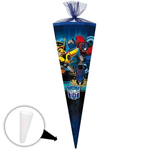 alles-meine.de GmbH Schultüte -  Transformers - Bumblebee / Roboter - Auto  - 35 cm - rund - mit Tüllabschluß - Zuckertüte - mit / ohne Kunststoff Spitze - Nestler - Jungen - A..