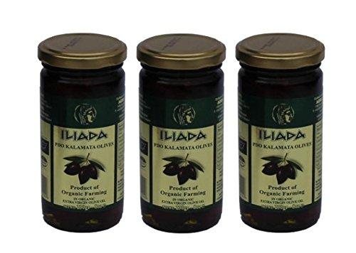 3x leckere Kalamata BIO Oliven in BIO Olivenöl eingelegt je 150g (Abtropfgewicht) griechische Oliven schwarz + Probiersachet Olivenöl 10ml
