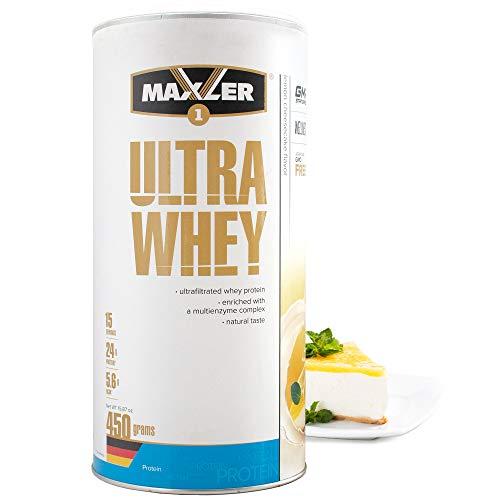 Maxler Ultra Whey Protein Pulver - Natürlich schmeckendes Protein Whey - Eiweiß Shake für Muskelaufbau, Wiederherstellung, Pre Workout & Post Workout - Protein Powder Zitronen Cheesecake - 450 g