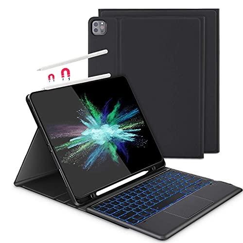 Beleuchtete Tastatur Hülle mit Touchpad für iPad Pro 12.9 2021/2020/2018(5. / 4. / 3. Gen), Abnehmbare Kabellose Bluetooth QWERTZ Tastatur mit Schutzhülle/Trackpad, Schwarz