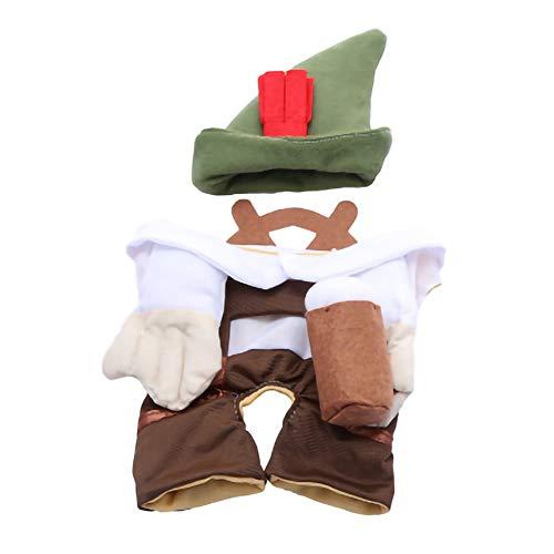 GLZKA Haustier Kostüm lustige Kleidung Bier Kellner grünen Hut hält EIN Weinglas Halloween Polyester bequem lässig für den täglichen Partyurlaub Fotoshootings,M