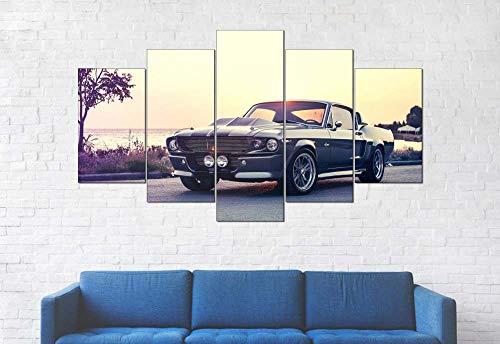 KOPASD 5 Partes Lienzo Decorativo para Pared 1967 Mustang Shelby GT500 Sports Car DiseñO de GicléE,Estilo Moderno,Ideal para Salones-100x55cm con Marco