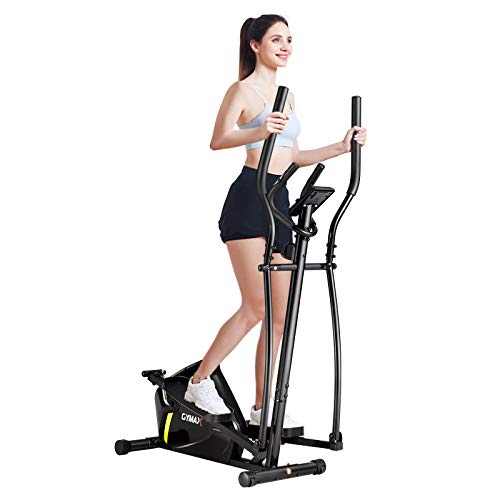GYMAX Elliptical Machine, Magnetic Portable Elliptical Trainer with LCD Monitor, Heart Sensor & Built-in Wheels, Indoor Cardio Training Elliptical for Home Gym Workout Exercise