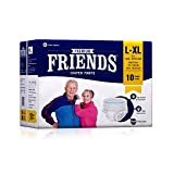 Friends Premium Adult Diapers Pant Style - 10 Count (L-XL) with odour lock and Anti-Bacterial Absorbent Core- Waist Size 30- 56 Inch ; 76- 122cm