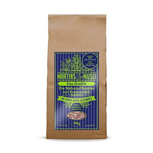 Bio Schoko-Müsli, Porridge mit Kakao. Das Dunkle, 750g. Gesundes Frühstück: ohne Zucker-Zusatz & ohne Weizen, vegan, basisch, glutenarm. Mit Superfood Erdmandeln (Chufa), Haferflocken & Chiasamen.