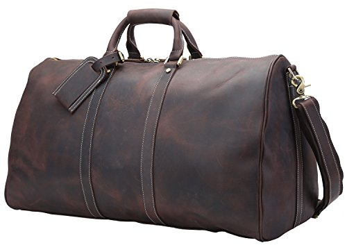 Polare 23'' Full Grain Leather Travel Duffel Weekender Bag Overnight Duffle Bag For Men