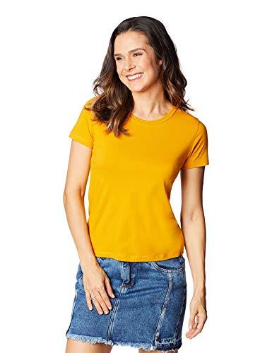 Camiseta Básica, Hering, Feminino, Amarelo, EXG