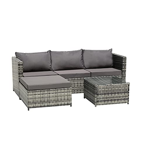 Bonnlo 3 Pieces Outdoor Garden Rattan Furniture Set Garden Sectional Sofa, Patio Conversation Set with Coffee Table, All-Weather Rattan Chair for Yard,Pool or Backyard (All Grey)
