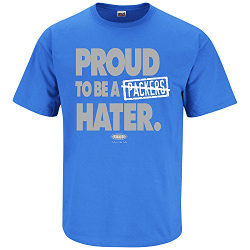Detroit Football Fans. Proud to Be a Hater Blue T-Shirt (Sm-5x) (Large)
