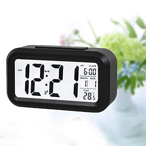 dongzhifeng Reloj Despertador Digital Monitor LCD Grande Posponer el Reloj electrónico de los niños Sensor de luz Reloj Despertador Digital Luz de la Noche del Estudiante Reloj de Oficina Reloj Negro