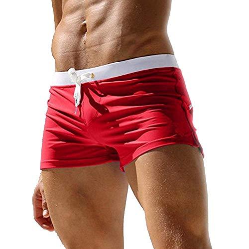 Herren Badehose Jungen Bademode Sexy Badeshorts für Männer für Beach Hotspring Surfen (EU XL/Tag XXL, Rot)
