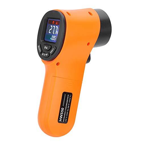 KKmoon Termómetro Infrarrojo Digital Industrial, -50℃ a 550℃, Pistola de Temperatura IR Sin Contacto, Naranja(no sirve para medir la temperatura corporal)