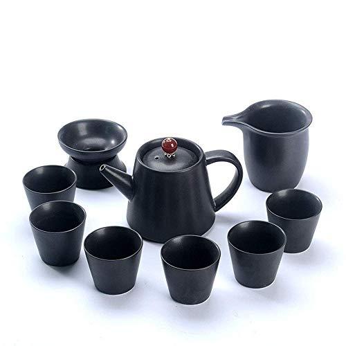 WLGQ Service à thé européen, étui de Transport, Service à thé Yaguang Ding Kiln, Artisanat en émail, céramique, Porcelaine, 1 Pot 4 Tasses, thé de l'après-midi, fête, Cadeau d'anniversaire, Noir