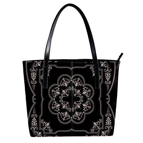 Silver Baroque Ornament Women's PU Leather Fashion Handbag Top-Handle Shoulder Bags Totes Purses