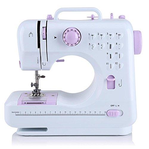 Zerone - Máquina de coser eléctrica multifunción portátil profesional con 12 tipos de puntadas - Máquina de coser manual para principiantes