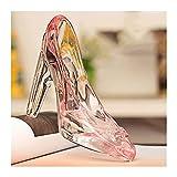 WQQLQX Statue Kristallglas Schuhe Skulptur Dekorationen Valentinstag High Heels Glas Schuhe Handwerk Ornamente Skulpturen (Color : Pink, Size : One Pair)