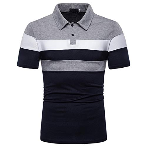 Tops for Men Colorful Patchwork Button T-Shirts Turn Down Collar Polo Casual Slim Fit Outdoor Blouse Baggy Fashion Lightweight Cool Tee