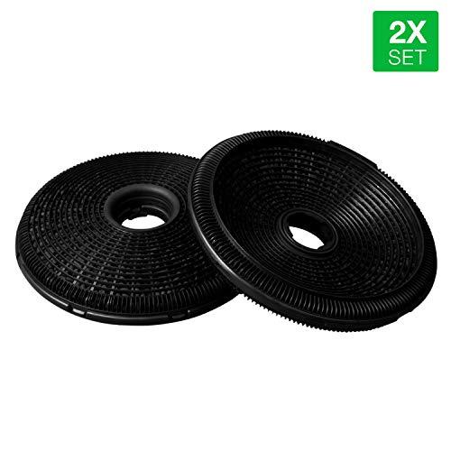 Juego de filtros de carbón 2 unidades como Bosch 00796390 DHZ5276 189 mm de diámetro para campana extractora
