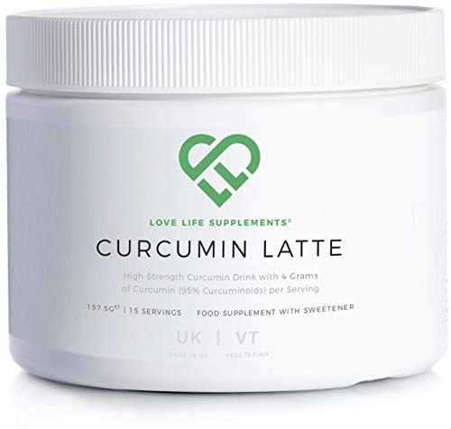 Curcumin Latte by LLS | 157.5g - 15 Servings | 4 Grams of Curcumin (95% Curcuminoids) per Serving | with Ginger, Cinnamon, Coconut Milk Powder and Black Pepper | Love Life Supplements