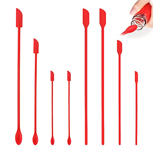 Set of 8 Last Drop Mini Spatulas Silicone, MaehSab Reusable Tiny Rubber Makeup Long Spoon for Kitchen Food Baking Cooking Beauty Make Up Cosmetics Lotion Resin Handmade Palette, 2 Types, Red