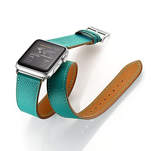 LOXO CASE Pulsera de Reloj de Piel Becerro,para Apple Watch Correa 38mm 40mm 42mm 44mm,Cuero auténtico,Correa de Reloj de Doble Lazo de Cuero Correa,para iWatch Serie 1/2/3/4/5/6/SE,Green,42mm/44mm
