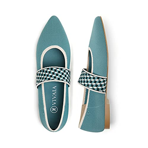 VIVAIA Bona Women's Casual Mary Jane Flats Slip on Washable Elegant Ballet Shoes Pointed-Toe Style