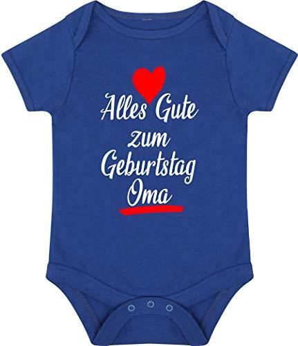 Kleckerliese Baby Body Vintage Kurzarm Sprüche Jungen Mädchen Aufdruck Motiv Alles Gute zum Geburtstag Oma, Royal, 12-18 Monate