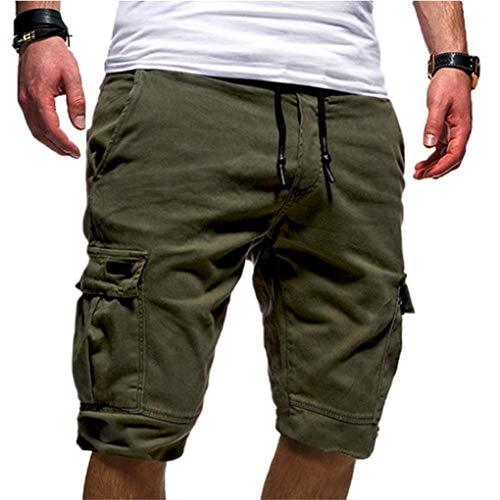 SilverBasic Homme Militaire Short de Loisir Travail Casual Shorts de Sport Bermudas Cargo Eté Pantalon de Plage L,Armé Vert-2
