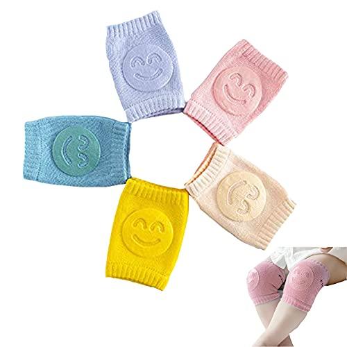 5 Paia Di Ginocchiere Per Gattonare, Ausilio Per Gattonare Antiscivolo Per Neonati, Cotone Unisex Con Protezione Antiscivolo In Gomma Per Bambini 0-24 Mesi