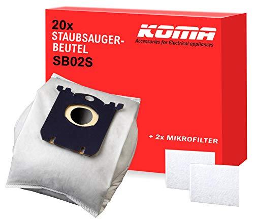 KOMA SB02S - 20x Staubsaugerbeutel für AEG, Electrolux, Philips, Zanussi | Staubsauger Zubehör Kompatibel mit Swirl PH86/PH96