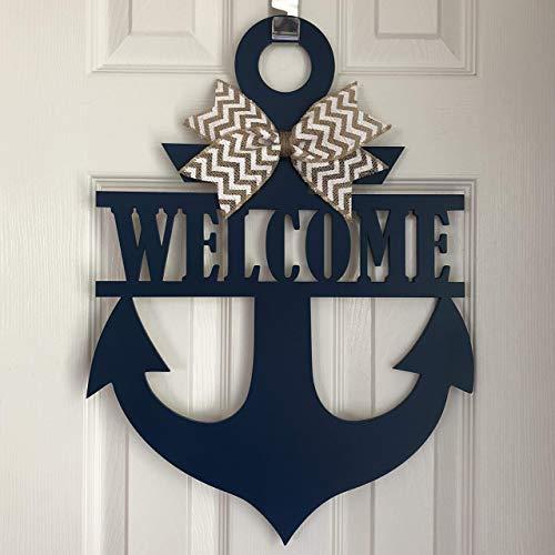 Anchor Door Hanger Welcome Sign - Anchor Welcome Wreath - Nautical Door Hanger - Boat Door Hanger - Anchor Wreath - Anchor Door Decor