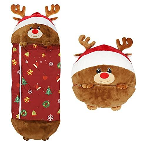 Mify Saco de dormir para niños con almohada para niños y niñas, saco de dormir de Navidad con dibujos animados de animales para niños (137 x 50 cm)