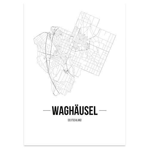 JUNIWORDS Stadtposter - Wähle Deine Stadt - Waghäusel - 30 x 40 cm Poster - Schrift B - Weiß