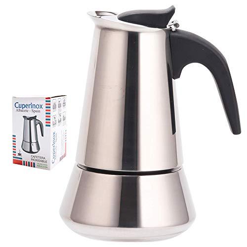 CUPERINOX Cafetera italiana induccion | 4 tazas | cafetera express para placas gas y vitroceramica induccion | para cafe espresso | acero inoxidable | apto lavavajillas