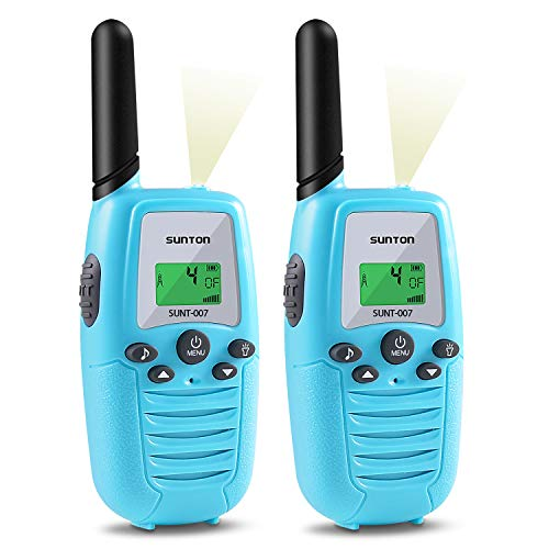 SUNTON Walkie Talkies for Kids 2-Pack, 22 Channels 2 Way Radio 3 Miles Long Range Toy with Backlit LCD and Flashlight, Great Gifts for Boys & Girls for Outdoor, Hiking, Camping Game(Blue Blue)