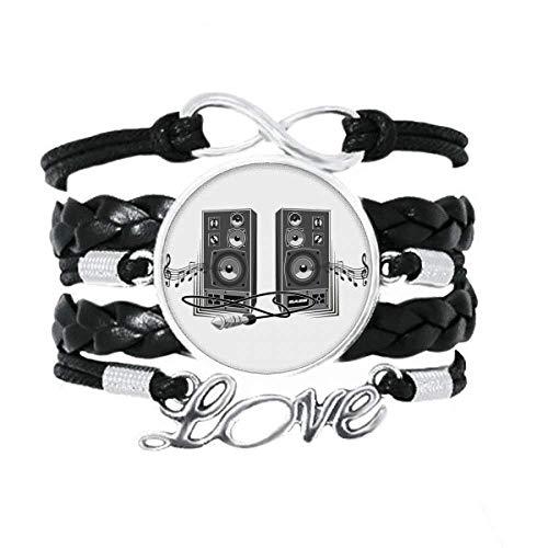 DIYthinker Song Musik Lautsprecher Box Muster Armband Love Accessory Twisted Leder Strickseil Armband Geschenk