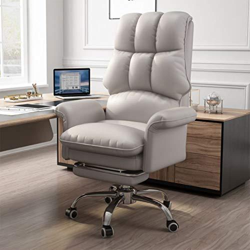 Gaming Stuhl BüRostuhl Schreibtischstuhl Mit Wippfunktion Gamer Stuhl HöHenverstellbarer Drehstuhl Pc Stuhl Ergonomischer Chefsessel, Wasserdicht Mit Klappbarer FußStüTze,Grau
