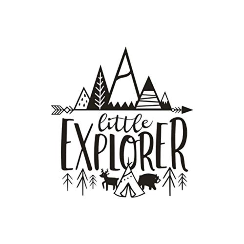 Little Explorer Home Decor Wall Sticker Decal Bedroom Vinyl Art Mural, Decoration for Christmas Day (Black)