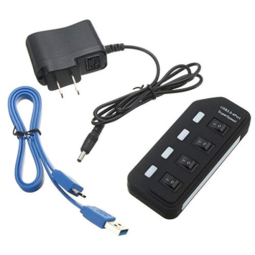 4 Puertos USB 3.0 HUB SUPERSPEED con Off Switch C.A. Adaptador de Corriente for Mac OS Sistemas de Linux 0908