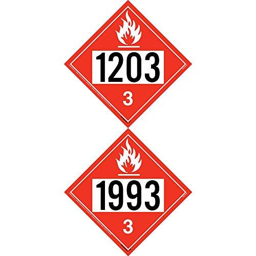 1993-1203 Placard, Class 3 Flammable Liquid 25-pk. - 10.75' x 10.75' Laminated Plastic for Temporary Applications - J. J. Keller & Associates - Complies with DOT Hazmat Placard Requirements