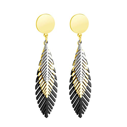 555Jewelry Stainless Steel Dangle Drop Stud Layered Feather Earrings for Women Silver / Gold / Black