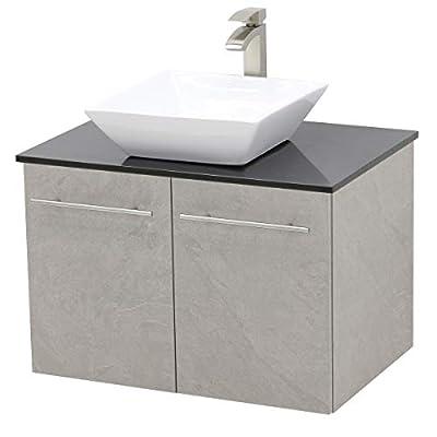 """WindBay Wall Mount Floating Bathroom Vanity Sink Set. Light Slate Grey Vanity, Black Flat Stone Countertop Ceramic Sink - 24"""""""