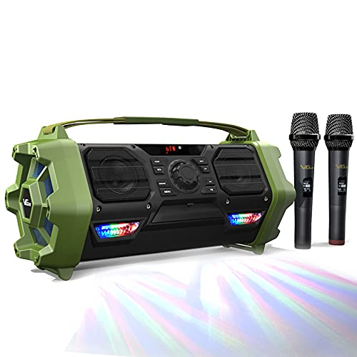 Wireless Karaoke Machine, VeGue Outdoor Singing Machine PA System with 2 Wireless Microphones for...