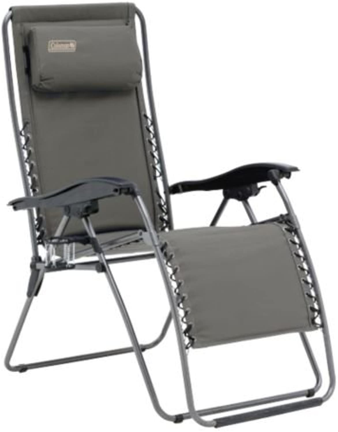 Coleman Flat Fold Layback Lounger Chair, Charcoal Grey